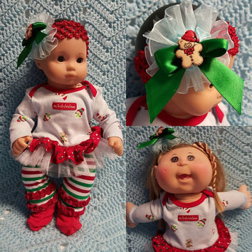 "15 inch Baby Doll Clothes handmade will fit Bitty Baby®  ""My First Christmas Red Blue"" doll outfit leggings headband reindeer F2"