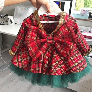 US Christmas Kids Baby Girls Party Plaid Dress+Bow Lace Tutu Skirts Outfits Set