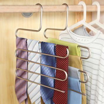 5 Layers S-type Multi-function Pants Hanging Pants Hanger Hanging Pants Rack Hanging Rack Multilayer Storage Rack #238593