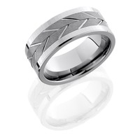 9mm wide titanium mens wedding band with brushed spinner center and polished edges