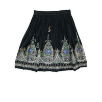 Mogulinterior Boho Short Skirt Black Sequin Embroidered Hippie Gypsy Knee Lenght skirts
