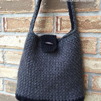 Crochet hobo bag in charcoal & black tweed, fully lined handbag, crochet wool handbag, wool hobo handbag, slouch handbag, 2 tone bag, #H016