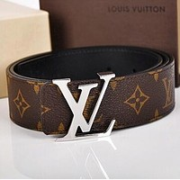 LV Louis Vuitton Trending Stylish Woman Men Classic Smooth Buckle Leather Belt I
