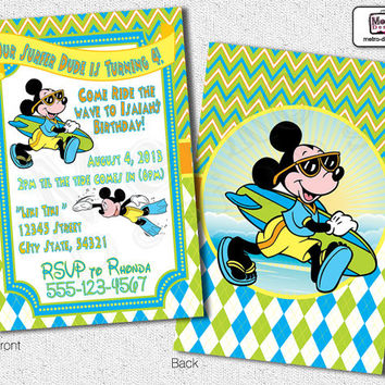 Mickey Mouse Surf Invitations