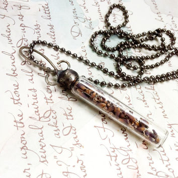 Lavender Pendant, Soldered Vial Necklace, Dried Lavender Jewelry, Purple Flower Charm, Glass Vial Necklace, Lavender Necklace