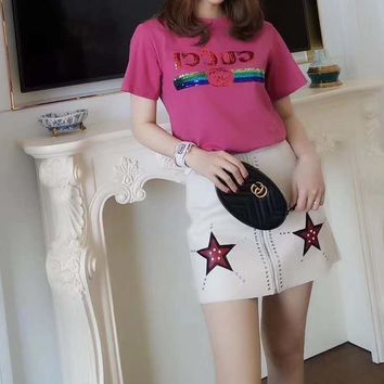 """""""Gucci"""" Woman Casual Wild Fashion Letter Logo Pattern   Short Sleeve T-shirt Tops"""