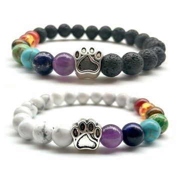 2018 Antique Silver Cute Dog Claws Bracelet 7 Color Chakra Healing Beads Lava Braclet For Women Men Yoga Meditation Jewelry