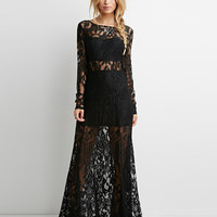 V-Cut Back Long Sleeve Sheer Lace Maxi Dress