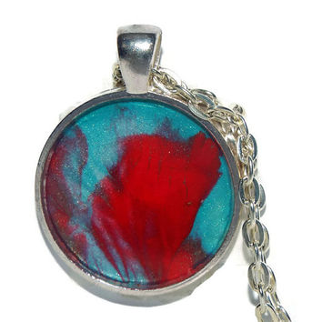 "Handmade Necklace, ""Passion"", OOAK, Free shipping, Handcrafted,Shimmer, Aqua, Red, Multi-color, Round pendant, Gift Ideas, Gifts For Her"
