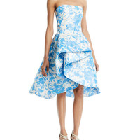 Monique Lhuillier Strapless Draped Floral-Print Taffeta Cocktail Dress
