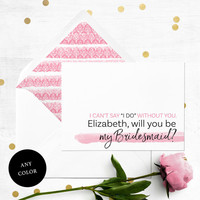 Will you be my Bridesmaid Card-Personalized Simple Typography Bridesmaid Proposal-Maid Of Honor, Flower Girl Proposal-Abstract Watercolor