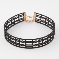 Wide Suede Cut Out Choker | Necklaces