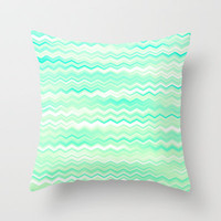 Waves V Throw Pillow by Rain Carnival