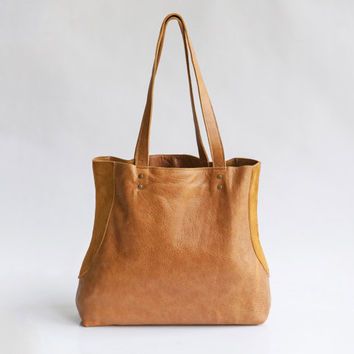 Tan leather tote -  Soft leather bag  - Everyday leather bag  - Miri bag