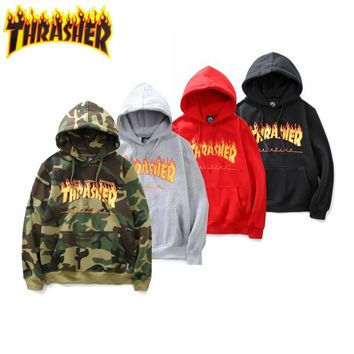 THRASHER Flame Classic Unisex Pullover Hoodies