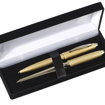 Free Personalized Engraved Fancy Colored Metal Pen and Letter Opener Gift Set
