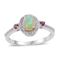 Opal, Pink Tourmaline, and Cambodian Zircon Ring