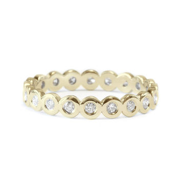 Pave Wedding Band, 14K Gold Ring, Full Eternity Band, 0.3 CT Diamond Ring, Unique Wedding Ring, Delicate Ring, Gold Rings for Women