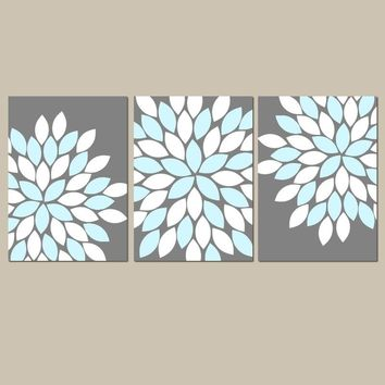 Flower Wall Art, Gray Blue Bedroom Wall Decor, Canvas or Prints, Aqua Gray Bathroom Decor, Living Room Art, Flower Petal Art, Set of 3