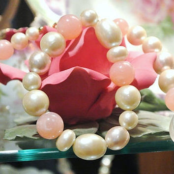 Lucite Necklace Bracelet Demi Parure Set Lucite Beads Pink Bubble Gum Marble Swirl Faux Pearls Clear Frosted Melon Form 1960s 1970s Bride