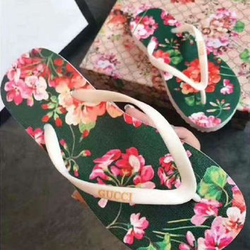Fashion Online Gucci Casual Floral Print Sandal Slipper Shoes