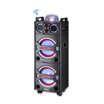 Bluetooth PA Loudspeaker Karaoke Entertainment System, Active Powered Speaker, Flashing DJ Party Lights, MP3/USB/SD, FM Radio, Wireless Mic