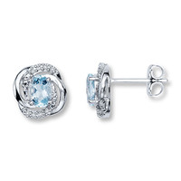 Aquamarine Earrings With Diamond Accents Sterling Silver