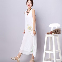 White Double Layered Sleeveless Floral Dress