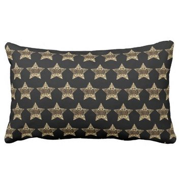 Stars Pattern Black Gold Look Elegant Christmas Lumbar Pillow