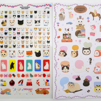 8 page Korean cat sticker folder book - realistic cat - dessert stickers - Alice in Wonderland - emoticons - cute planner stickers - labels