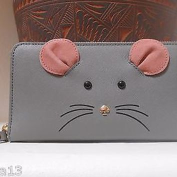 Kate Spade Cat's Meow Mouse Lacey Saffiano Leathe Zip Clutch Wallet in Gray NEW