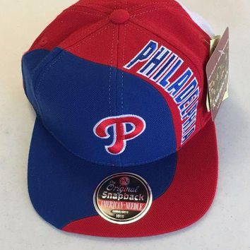 DCCKIHN AMERICAN NEEDLE PHILADELPHIA PHILLIES RETRO RED WHITE BLUE SNAPBACK HAT