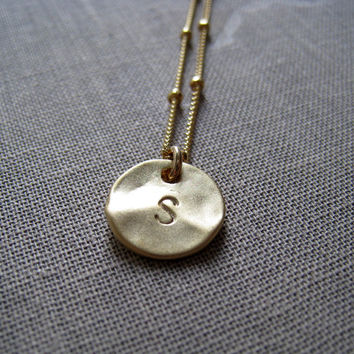 Gold initial necklace, hand stamped letter disc, 14k gold filled satellite chain, personalized jewelry