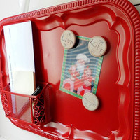 Magnetic Board  Bulletin Board with Organizer by LeMaisonBelle on Etsy