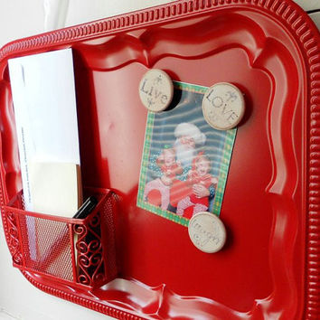 Bulletin Board Message Center Organizer with Basket and Magnets by LeMaisonBelle