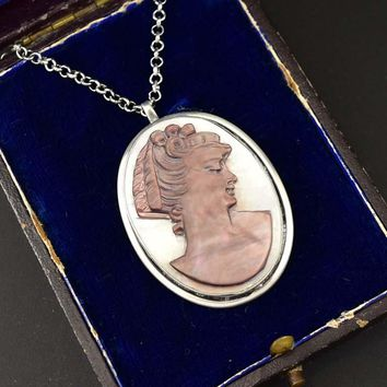 Fine Silver Mother of Pearl Antique Cameo Pendant
