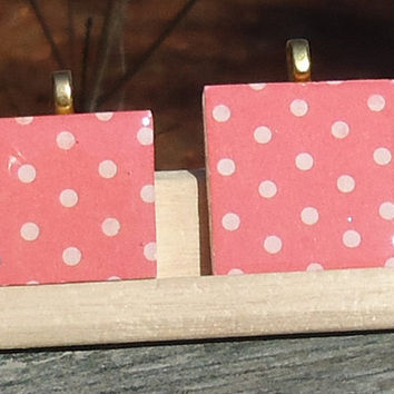 Polka Dot Mother Daughter Wood Tile Pendant Set