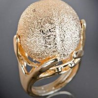 Kenneth Jay Lane gold textured ball ring at Bluefly