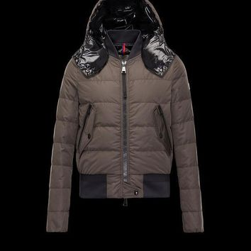 Moncler Women Agathe Water Resistant Hooded Aviator Jacket Military