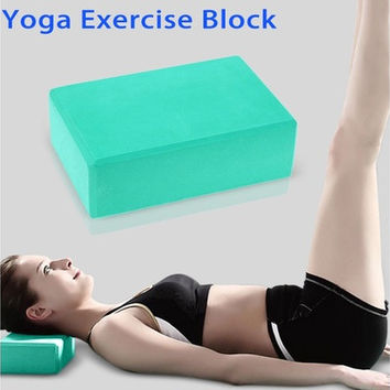 Professional Yoga Block Brick Sports Exercise Fitness Gym Workout Stretching for yoga tools (Color: Green) [8069647623]