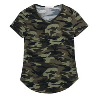 Women Camouflage Pocket T-shirts Army Print Clothes Short  Sleeve T-shirt Roupas Femininas Blusa Shirts Loose Vestidos Top Tees