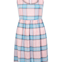 Pink and Blue Checked Dress - Dresses  - Apparel