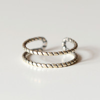 925 sterling silver thai silver simple weaving opening ring, a perfect gift !