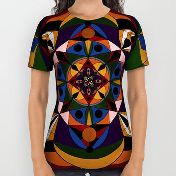Faces Within Mandala All Over Print Shirt by alishadawn