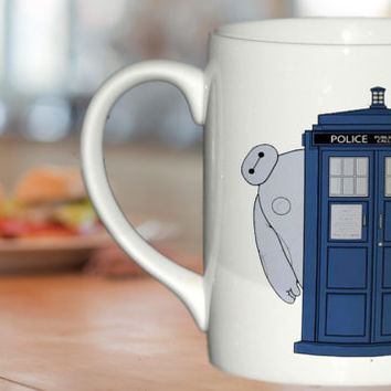 baymax hide behind tardis For Ceramic Mug Design