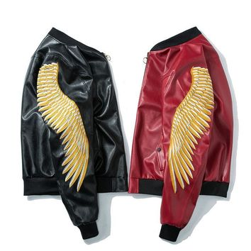 Bomber Embroidery wings Faux Leather Jacket