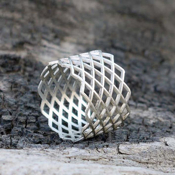 ON SALE Wide band silver ring - Sterling silver grid ring - Geometric jewelry.