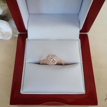 3/4 Carat Halo Vintage Engagement Ring, Man Made Diamond Simulants, Art Deco, Wedding, Bridal, Promise Ring, Sterling Silver & ROSE Gold