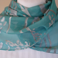 Teal and Black Water Print Silk Scarf with long fringe