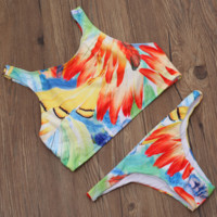 NEW hot sale fashion sexy feather print vest  two piece bikini